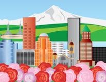 Portland Skyline Illustration. Portland Oregon Skyline with Mount Hood and Roses Illustration royalty free illustration
