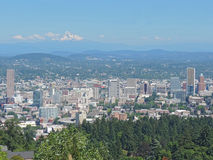 Portland Skyline with Mount Hood Stock Image