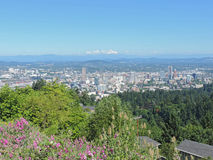 Portland Skyline with Mount Hood Royalty Free Stock Photo