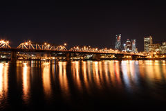 Portland Skyline at night. Downtown Portland Oregon at night showing river, skyline, and Hawthorne bridge Royalty Free Stock Photography