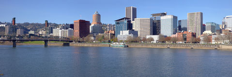 Portland OR. Skyline panorama and River. Royalty Free Stock Image