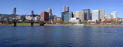 Portland OR. Skyline panorama and River. Stock Photos