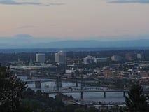 Portland Skyline at Sunset Stock Photo