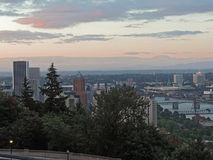Portland Skyline at Sunset Royalty Free Stock Images