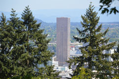Portland Skyline View from Rose Garden royalty free stock photo