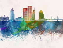 Portland skyline in watercolor background Stock Images