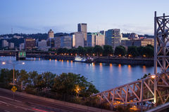 Portland Skyline and Willamette river Royalty Free Stock Image