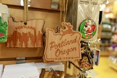 Portland Souvenir Products at Made In Oregon shop at Pioneer Place, Shopping Mall. Portland, Oregon, USA - April 27, 2018 : Portland Souvenir Products at Made In royalty free stock images
