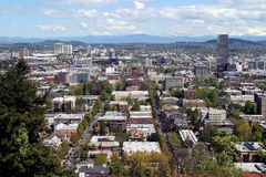 Portland OR in Spring. A view of the city of Portland Oregon in Spring Stock Photo