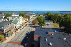 Portland stadshorisont, Maine, USA Arkivfoto
