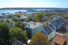 Portland stadshorisont, Maine, USA Arkivbild