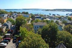 Portland stadshorisont, Maine, USA Arkivfoton