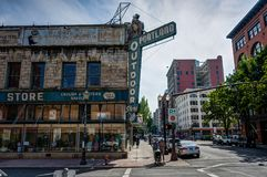 Portland-Stadtansicht in die Oregon-Vereinigten Staaten von Amerika stockfoto