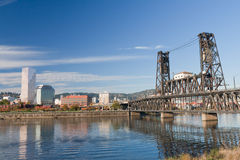 Portland steel bridge and Downtown Royalty Free Stock Images