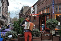 Portland Street Performer. A street performer in downtown Portland, Oregon, plays the accordion Stock Photos