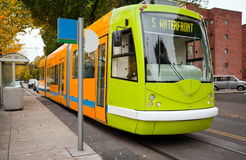 Portland Streetcar. The Portland Streetcar in NW Portland. All logos removed for creative/RF usage Royalty Free Stock Photography