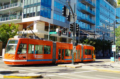 Portland Streetcar. Public transportation in the Pearl District Portland Oregon Stock Photo