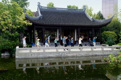 Portland, OR: Tai'Chi at Chinese Classical Garden Stock Photos