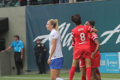 Portland Thorns salabrate after making a goal Stock Image