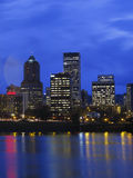 Portland OR. at twilight. City lights reflecting in the early evening hour Royalty Free Stock Images