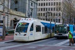 Public transportation, TriMet Max Train, in downtown Portland, Oregon. Portland, United States - Apr 10, 2018 : Public transportation, TriMet Max Train, in stock images