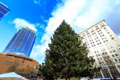 Christmas tree at Pioneer Courthouse Square in Portland Oregon. Portland, United States - Dec 21, 2017 : Christmas tree at Pioneer Courthouse Square in Portland stock images