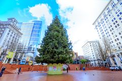 Christmas tree at Pioneer Courthouse Square in Portland Oregon. Portland, United States - Dec 21, 2017 : Christmas tree at Pioneer Courthouse Square in Portland royalty free stock photography
