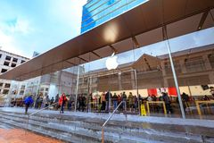 Apple Store at Pioneer district. Portland, United States - Dec 21, 2017 : Facade of Apple Store at Pioneer district Stock Photography