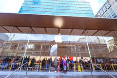 Apple Store at Pioneer district. Portland, United States - Dec 21, 2017 : Facade of Apple Store at Pioneer district Royalty Free Stock Photo