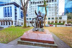 The statue, which is represented a pioneer family and called The. Portland, United States - Dec 19, 2017 : The statue, which is represented a pioneer family and Stock Image