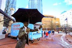 Umbrella Man sculpture in Pioneer Courthouse Square. Portland, United States - Dec 21, 2017 : Umbrella Man sculpture in Pioneer Courthouse Square Stock Images