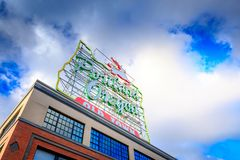 Made in Oregon White Stag sign in Old Town Portland Oregon near Burnside Street and the Saturday Market Royalty Free Stock Image