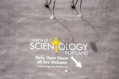 Scientology banner on the wall royalty free stock photo