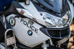 Police bmw motocyccle up close royalty free stock images