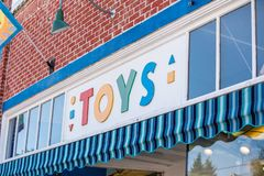 Sign in front of the toy store stock photography