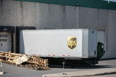 UPS Truck container at the dock royalty free stock photo