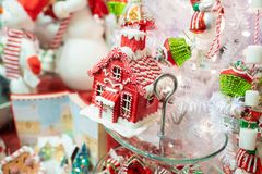 Gingerbread Christmas house ornamental decoration. Portland, OR / USA - December 15 2018: Gingerbread house Christmas tree decoration on the display in the gift stock photo