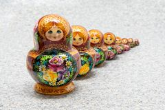 Row of traditional Russian matryoshka nested dolls royalty free stock image