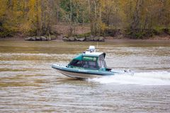 Sheriff patrolling the Columbia river royalty free stock photo