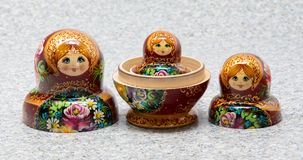 Traditional Russian matryoshka souvenir nesting dolls stock photo