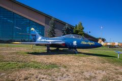 Blue angels plane on the display royalty free stock image