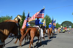 Portland, USA - July 4, 2012:  Men on horse parade in Independen Stock Photography