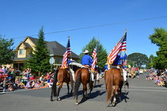 Portland, USA - July 4, 2012: Men on horse parade in Independen stock images