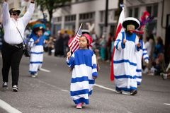 Child holding american flag royalty free stock image