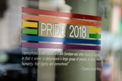 Pride 2018 support sticker on the window stock photo