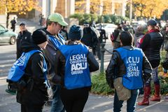 ACLU of Oregon legal observer at the political rally stock image