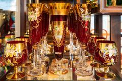 Decorated antique Victorian glass on the display royalty free stock photos