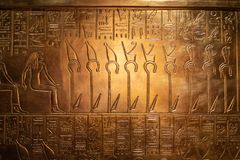 Pictographs and hieroglyphs on the display at the exhibit royalty free stock image