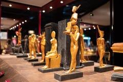 King Tutankhamen Egyptian statues exhibit stock image