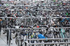 Many rows of parked bicycles royalty free stock images